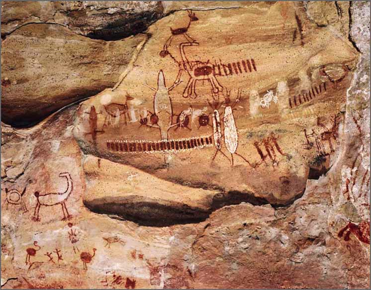Cave paintings at Serra da Capivara, Piauí State, Brazil