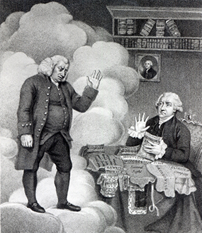 Boswell and the Ghost of Samuel Johnson, published in 1803 (engraving) (b/w photo)