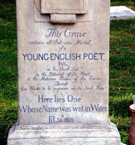 John Keats gravestone