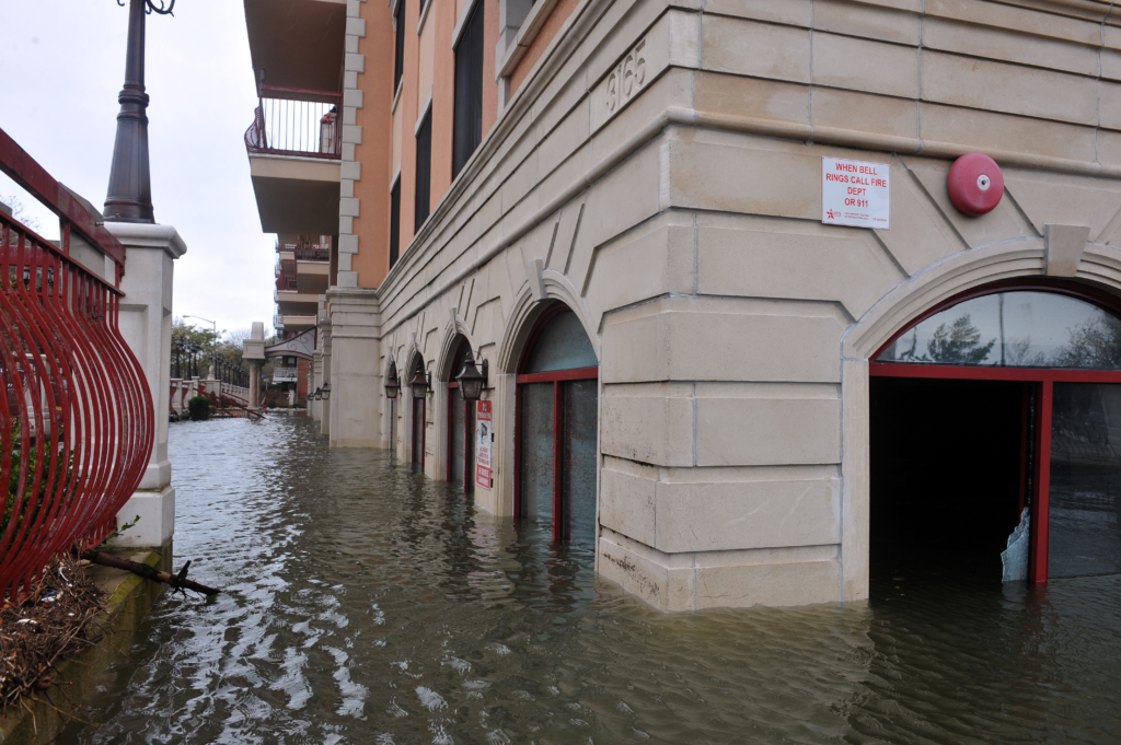 Seriouse flooding in the buildings at the Sheapsheadbay neighborhood due to impact from Hurricane Sandy in Brooklyn, New York, U.S., on Tuesday, October 30, 2012. Anton Oparin / Shutterstock.com
