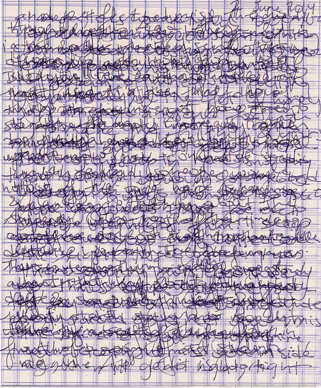 These are scans of an actual love letter the author wrote, layered. Have fun deciphering!