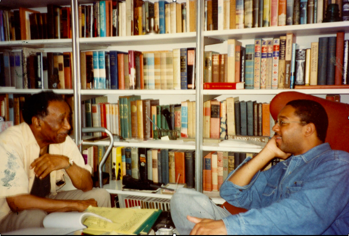 Albert Murray and Wynton Marsalis enjoy a conversation in the Murray family home (c. 1993)