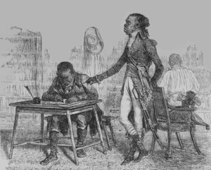 An imagined scene of Toussaint Louverture and a secretary.