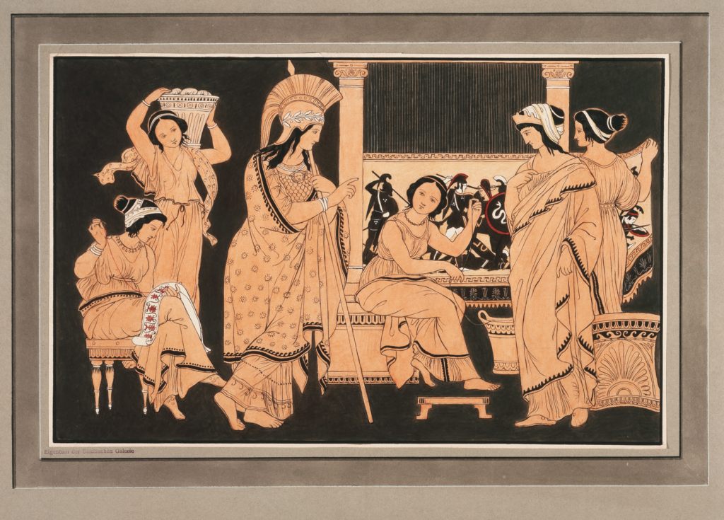 Ink drawing in orange and black of Athena visiting Penelope who is weaving Laertes's shroud on a loom.