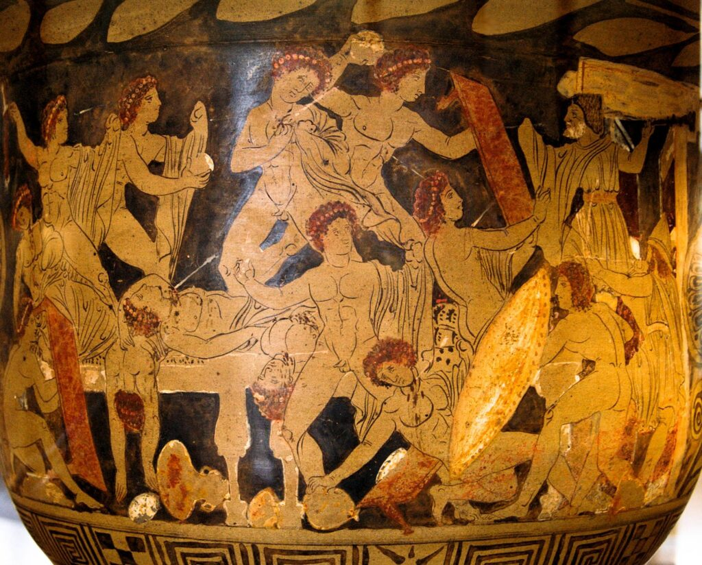 Orange and black vase painting of the slaughter of Penelope's suitors by Odysseus, Telemachus, and Eumaeus.