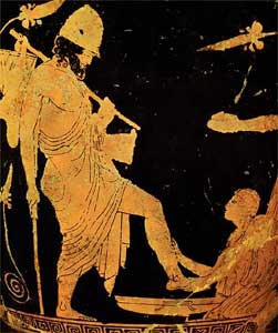 Orange and black vase painting of Eurycleia washing Odysseus's feet and noticing his scar.