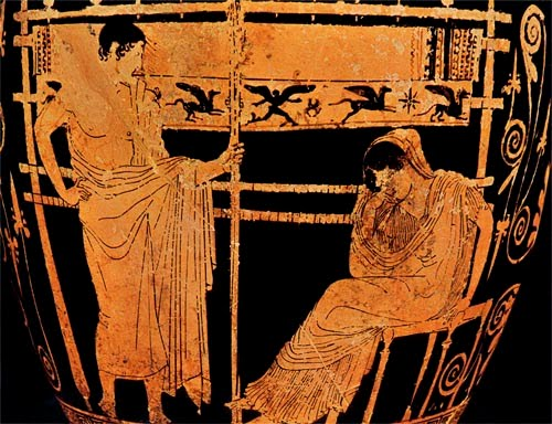 Black and orange vase painting of Penelope seated in front of her loom, next to her son Telemachus.