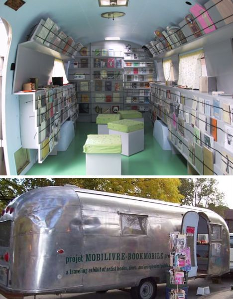 Interior and exterior of the Mobilivre Bookmobile: interior is filled with books strapped to the walls, and exterior is a silver metal airstream.