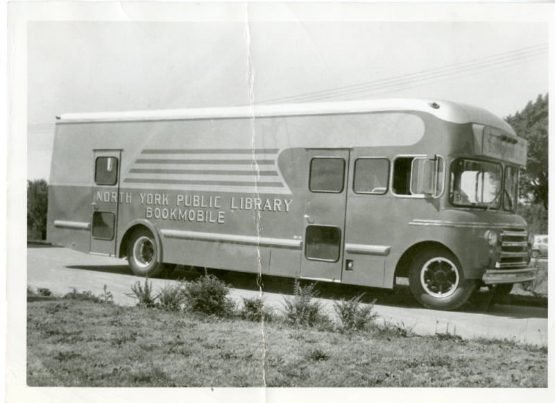 North York Public Library bookmobile circa 1954, in black and white.