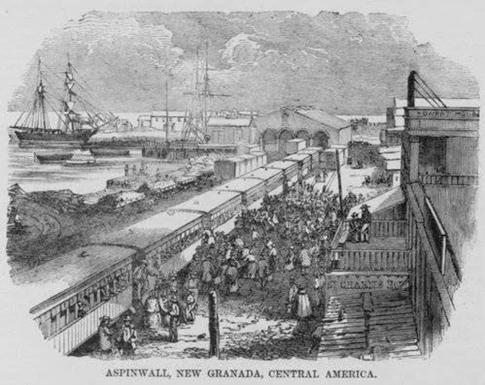 Ships docking at harbor and trains pulling into the station in Aspinwall.