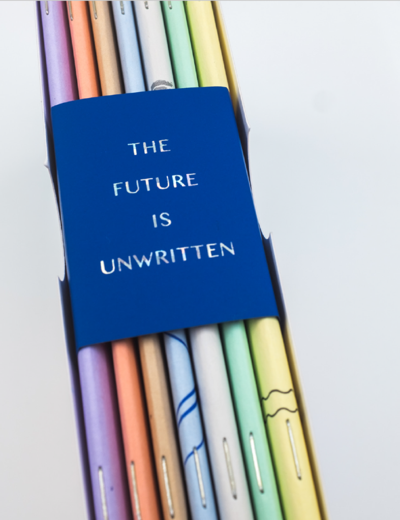 """""""Futures"""" individual books in many different colors, as printed by Radix Media in 2019."""