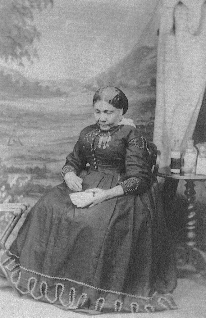 Professional black and white photograph of Mary Seacole sitting.
