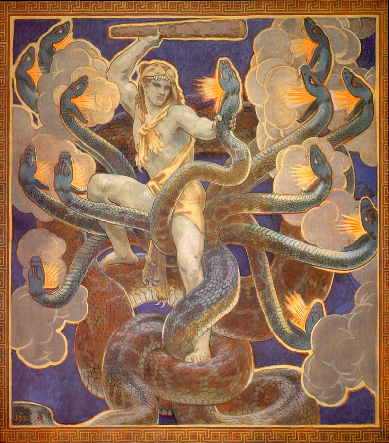 Hercules with a club attempting to slice the many hydra heads.