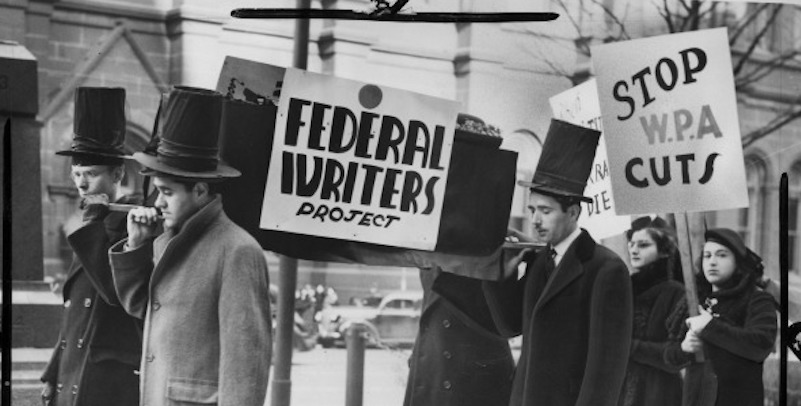 Writers protest FWP budget cuts in 1939.