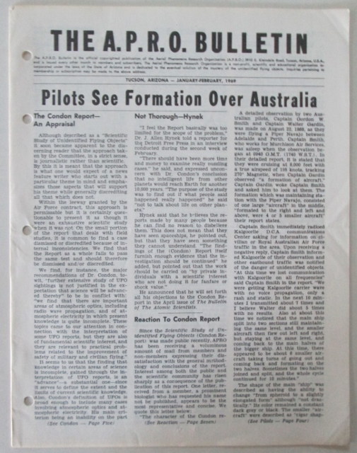 """An edition of the APRO Bulletin, with a headline reading """"Pilots See Formation Over Australia."""""""