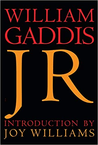 """J R"" book cover: black background with red, orange, and fuchsia block letters of varying sizes."