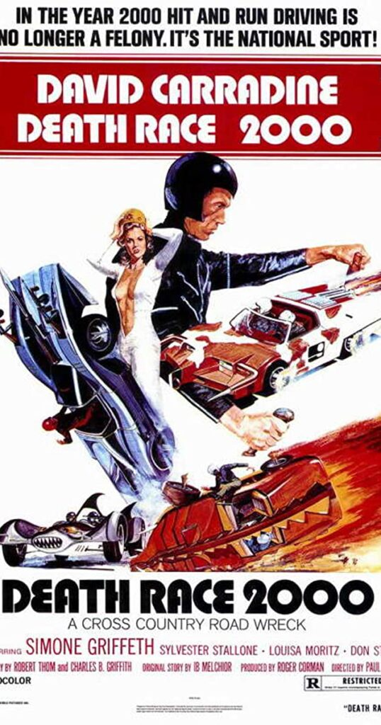 Movie poster for Death Race 2000; it depicts crashing race cars and their drivers.