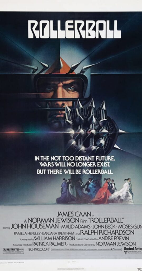 Rollerball movie poster; Jonathan E in a spiked helmet holding the spiked metal ball.