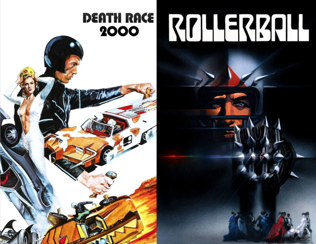 Movie posters for Death Race 2000 and Rollerball; Frankenstein and various orange and white race cars; Jonathan E in metal helmet with metal spiked ball.
