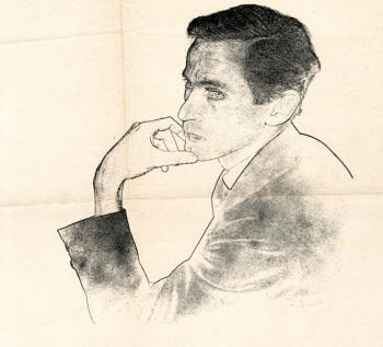 Sketch of William Gaddis in black and white on tan paper; Gaddis has  his arm bent at the elbow and is resting his fingers on his chin with a pensive expression.