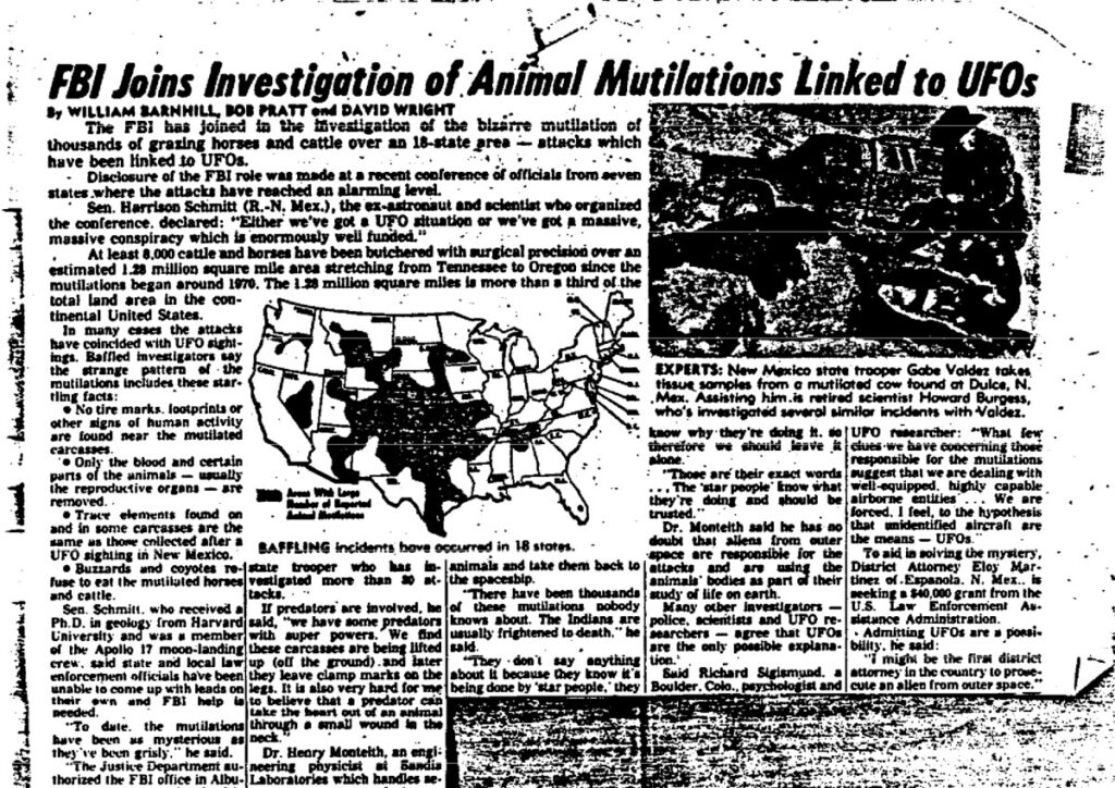 """Black and white newspaper from the 70s with headline, """"FBI Joins Investigation of Animal Mutilations Linked to UFOs."""""""