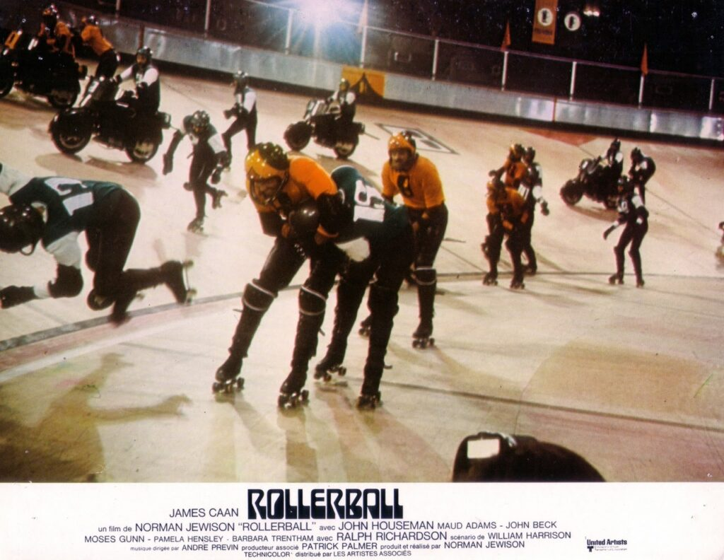 A scene from Rollerball; Houston vs New York skaters in the rink.